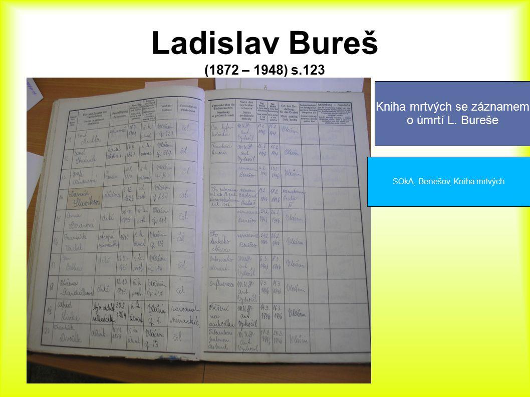 Ladislav Bureš (1872 – 1948) s.123 SOkA, Benešov, Kniha mrtvých Kniha mrtvých se záznamem o úmrtí L. Bureše