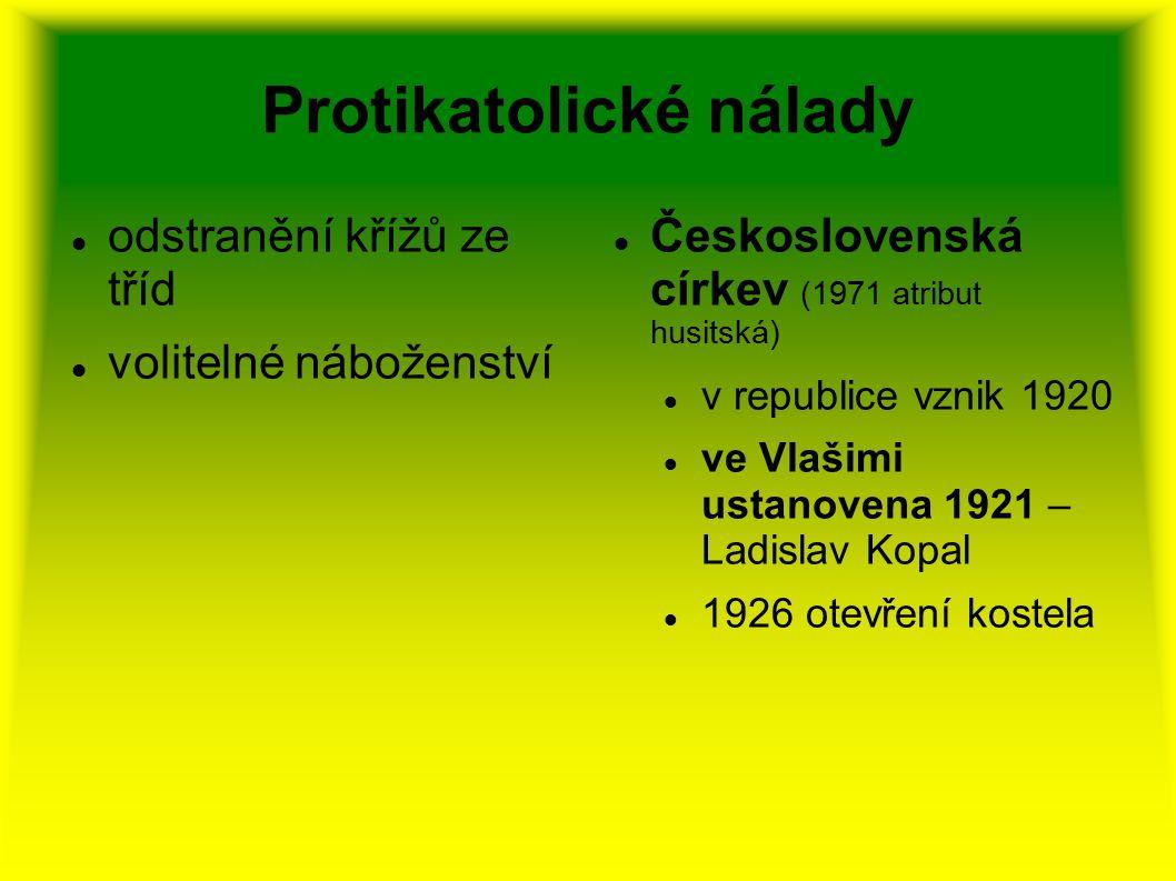 Protikatolické nálady odstranění křížů ze tříd volitelné náboženství Československá církev (1971 atribut husitská) v republice vznik 1920 ve Vlašimi u