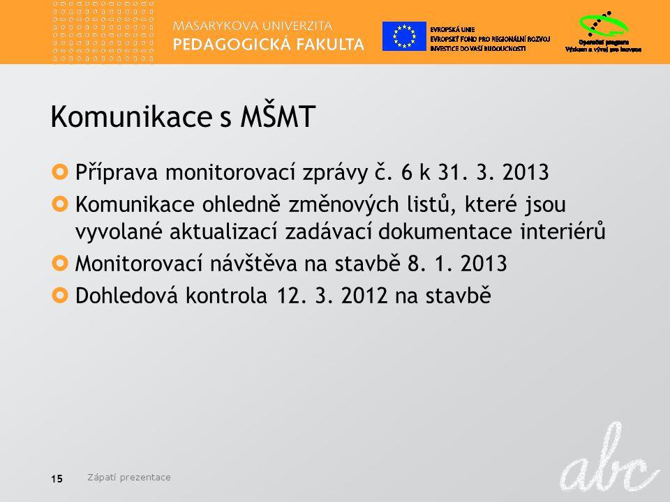 Komunikace s MŠMT  Příprava monitorovací zprávy č. 6 k 31. 3. 2013  Komunikace ohledně změnových listů, které jsou vyvolané aktualizací zadávací dok