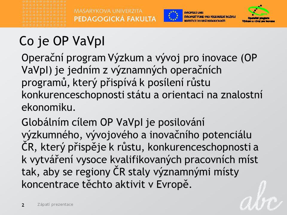 Co je OP VaVpI Operační program Výzkum a vývoj pro inovace (OP VaVpI) je jedním z významných operačních programů, který přispívá k posílení růstu konkurenceschopnosti státu a orientaci na znalostní ekonomiku.