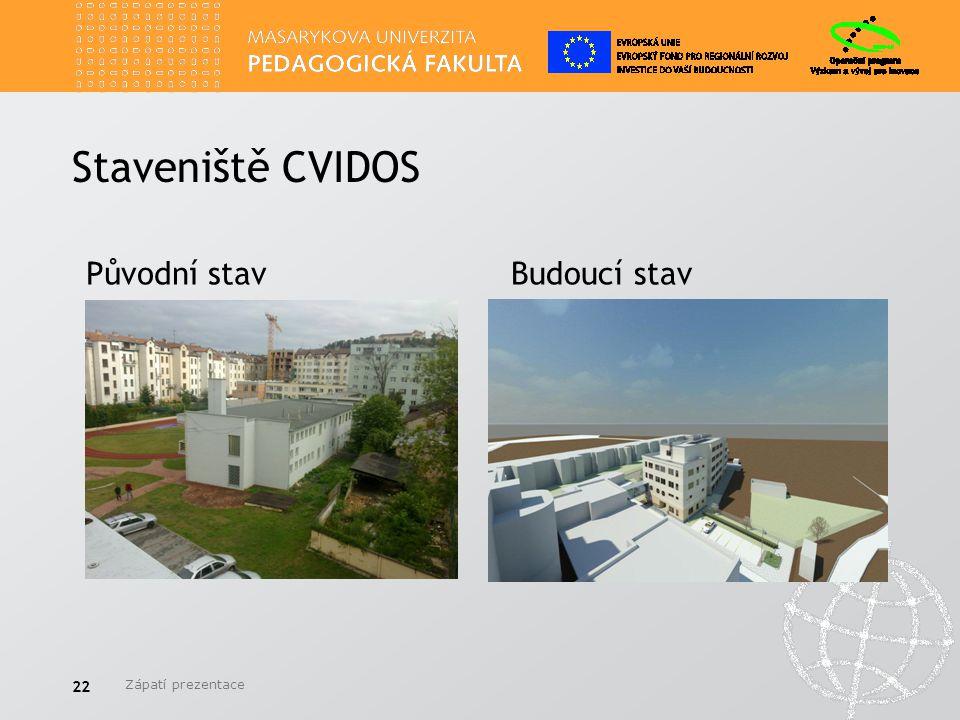 Staveniště CVIDOS Zápatí prezentace 22 Původní stavBudoucí stav