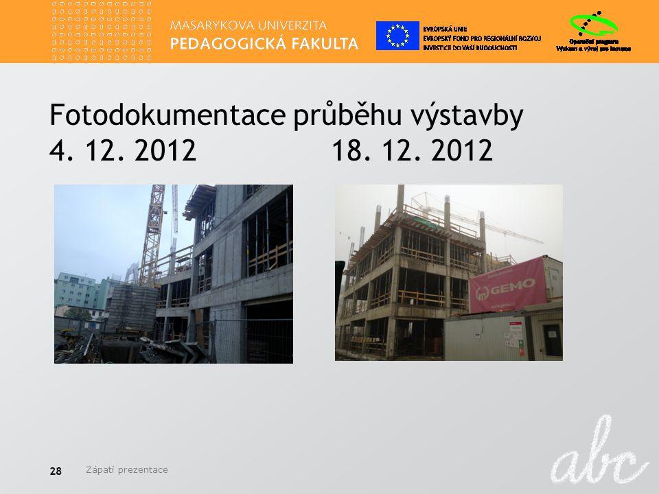 Fotodokumentace průběhu výstavby 4. 12. 2012 18. 12. 2012 Zápatí prezentace 28