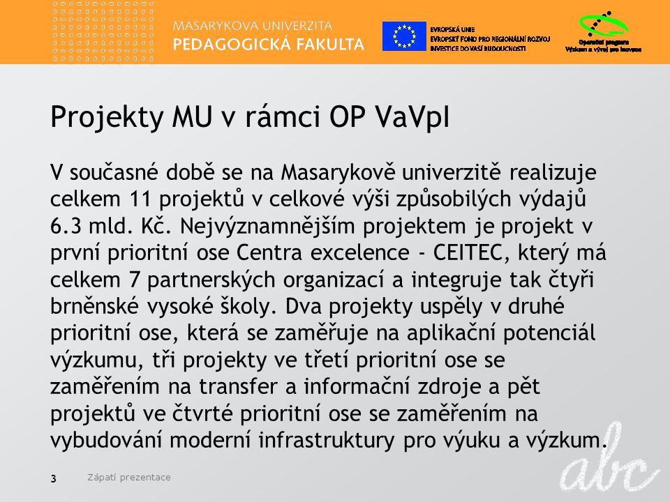 Projekty MU v rámci OP VaVpI V současné době se na Masarykově univerzitě realizuje celkem 11 projektů v celkové výši způsobilých výdajů 6.3 mld. Kč. N