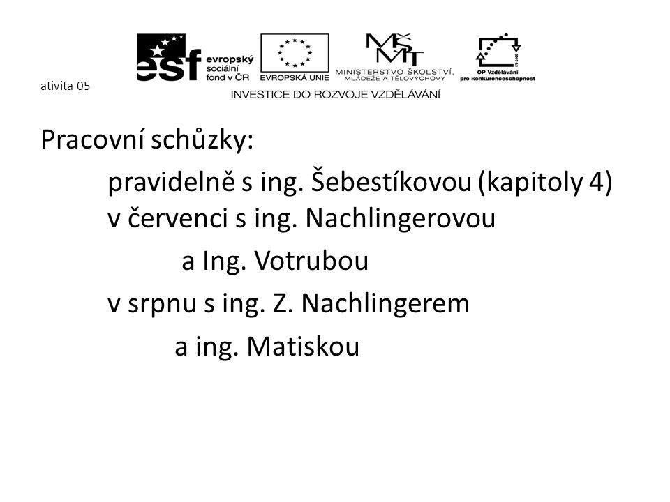 ativita 05 Pracovní schůzky: pravidelně s ing. Šebestíkovou (kapitoly 4) v červenci s ing.