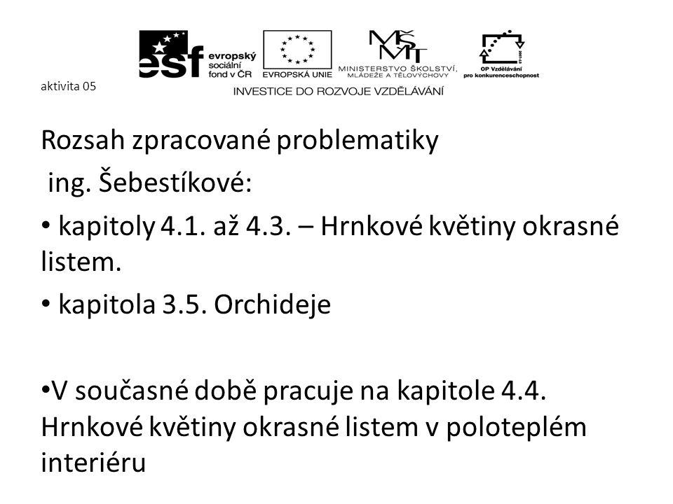 aktivita 05 Ing.V. Nachlingerová zpracovává kapitolu 2.3.