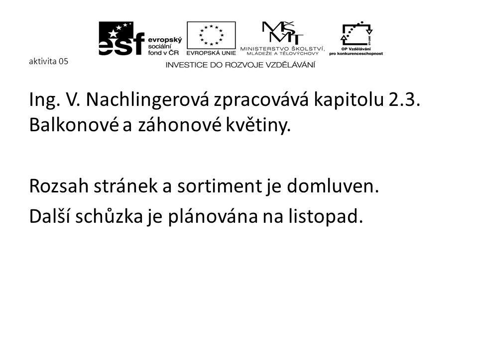 aktivita 05 Ing. V. Nachlingerová zpracovává kapitolu 2.3.