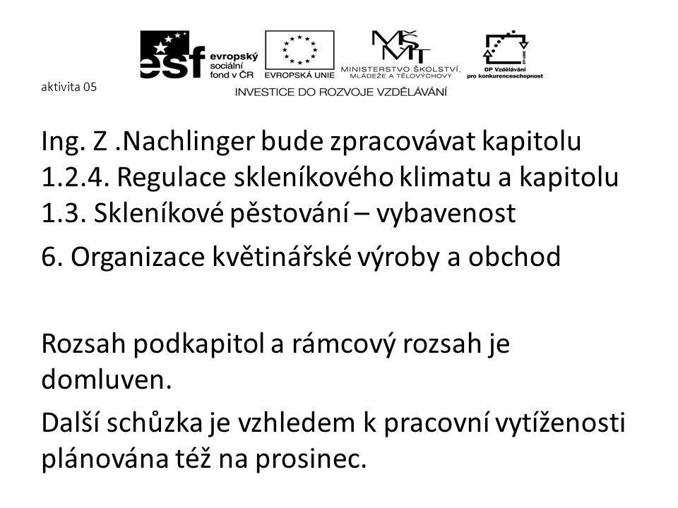 aktivita 05 Ing.Pavel Matiska bude zpracovávat kapitolu 2.5.