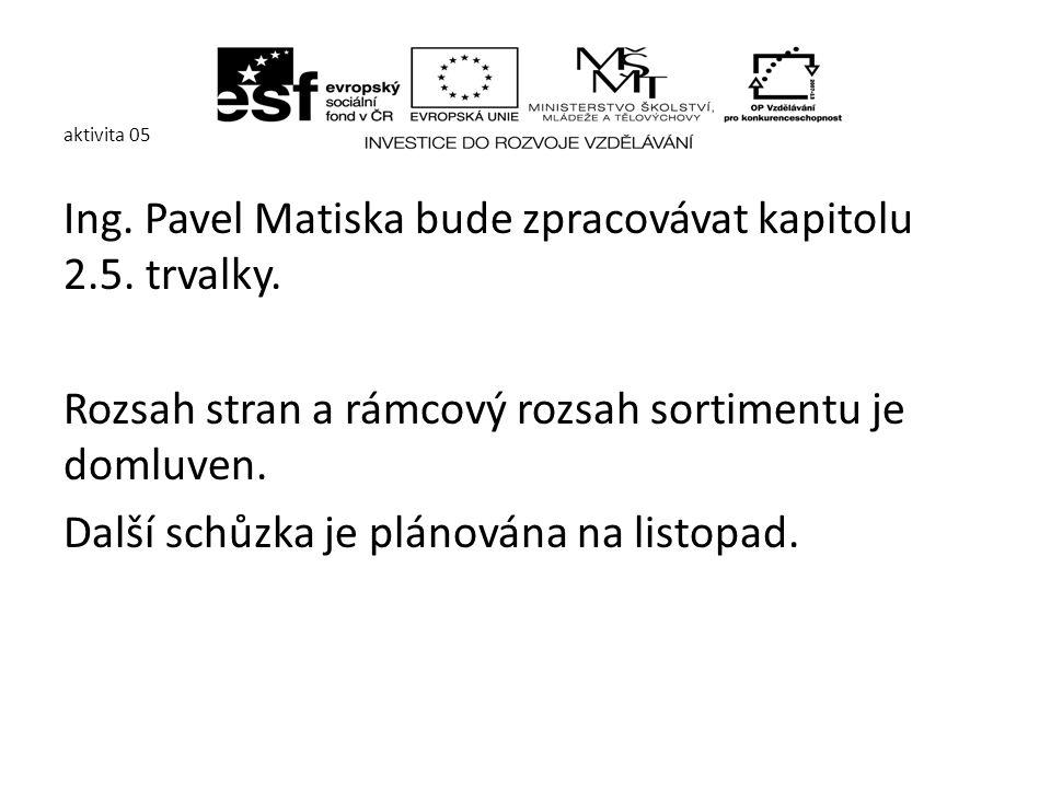 aktivita 05 Ing. Pavel Matiska bude zpracovávat kapitolu 2.5.