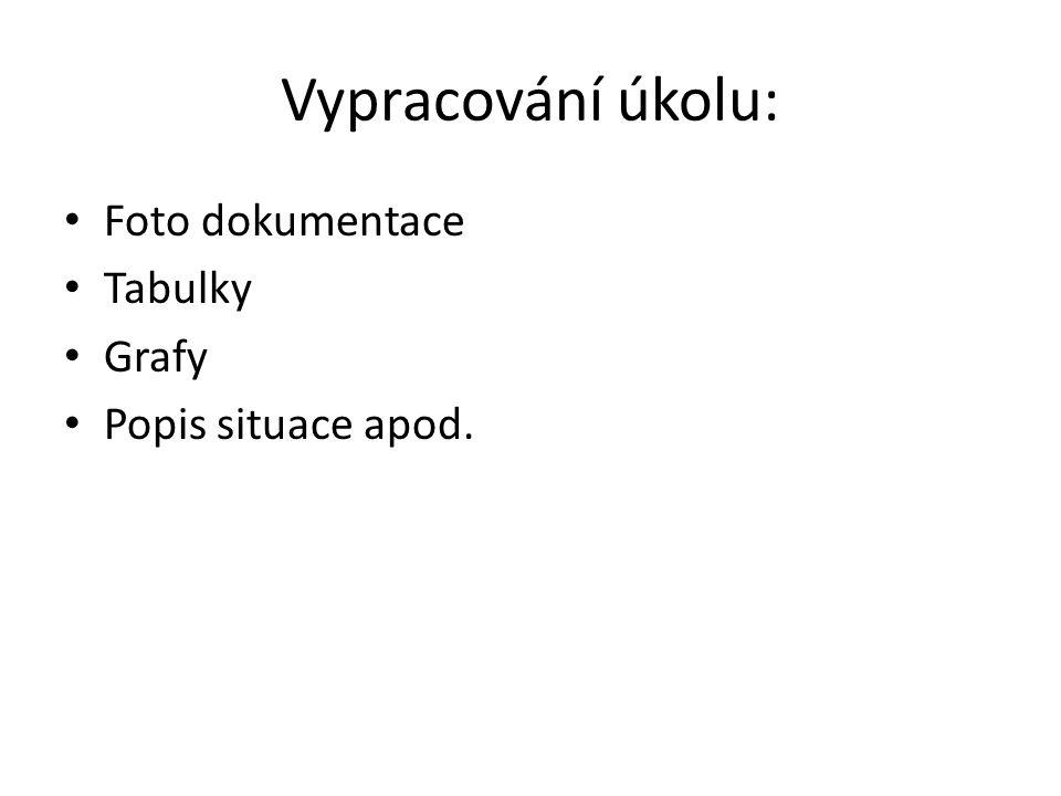 Vypracování úkolu: Foto dokumentace Tabulky Grafy Popis situace apod.