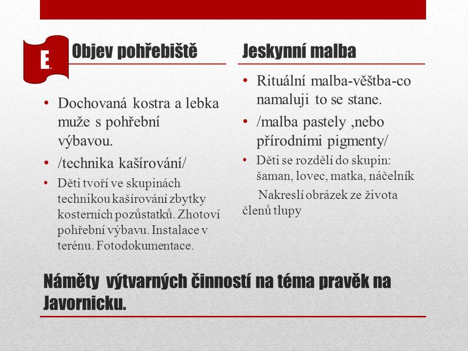 Náměty výtvarných činností na téma pravěk na Javornicku. Objev pohřebiště Dochovaná kostra a lebka muže s pohřební výbavou. /technika kašírování/ Děti