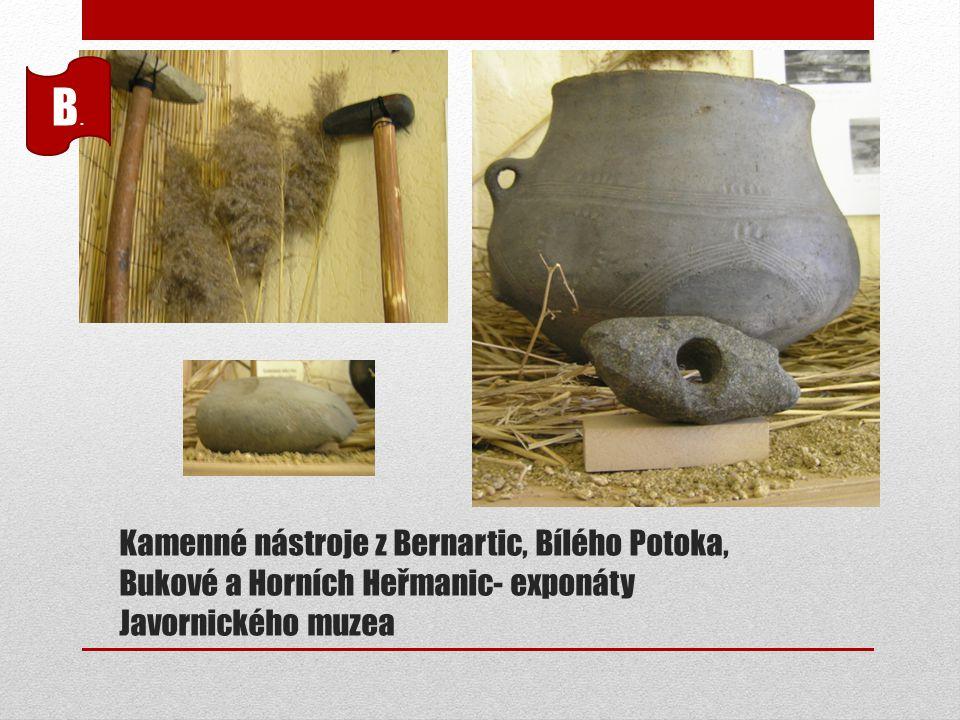 Kamenné nástroje z Bernartic, Bílého Potoka, Bukové a Horních Heřmanic- exponáty Javornického muzea B.B.
