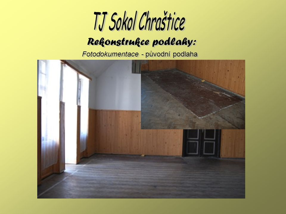 Fotodokumentace - nové parkety Rekonstrukce podlahy: