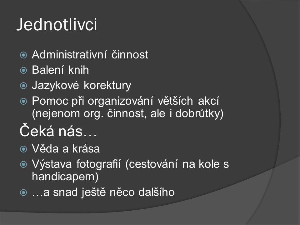 Jednotlivci  Administrativní činnost  Balení knih  Jazykové korektury  Pomoc při organizování větších akcí (nejenom org.