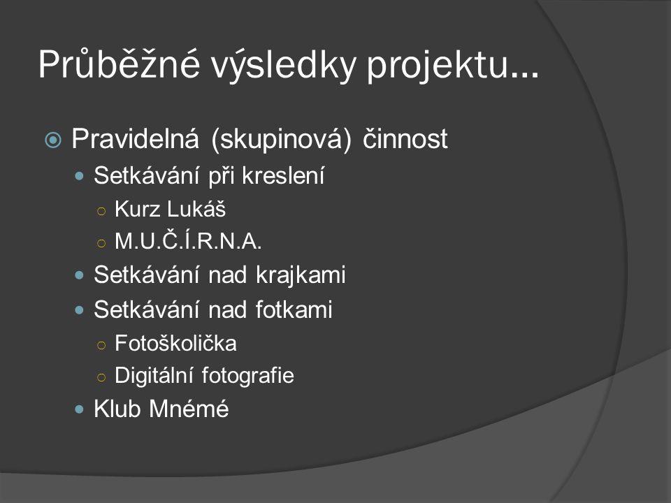 Průběžné výsledky projektu…  Pravidelná (skupinová) činnost Setkávání při kreslení ○ Kurz Lukáš ○ M.U.Č.Í.R.N.A.