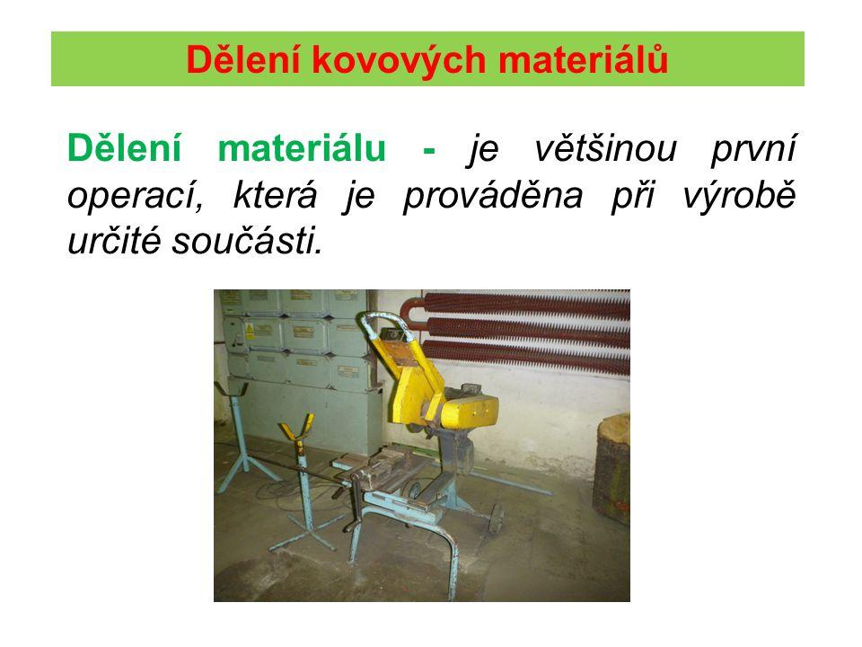 Dělení kovových materiálů Dělení materiálu - je většinou první operací, která je prováděna při výrobě určité součásti.