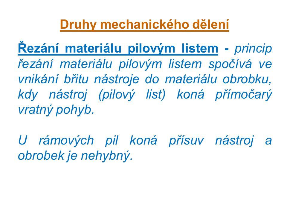 Druhy mechanického dělení Řezání materiálu pilovým listem - princip řezání materiálu pilovým listem spočívá ve vnikání břitu nástroje do materiálu obr