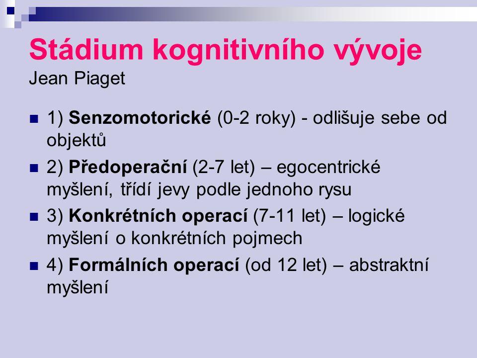 Stádium kognitivního vývoje Jean Piaget 1) Senzomotorické (0-2 roky) - odlišuje sebe od objektů 2) Předoperační (2-7 let) – egocentrické myšlení, tříd