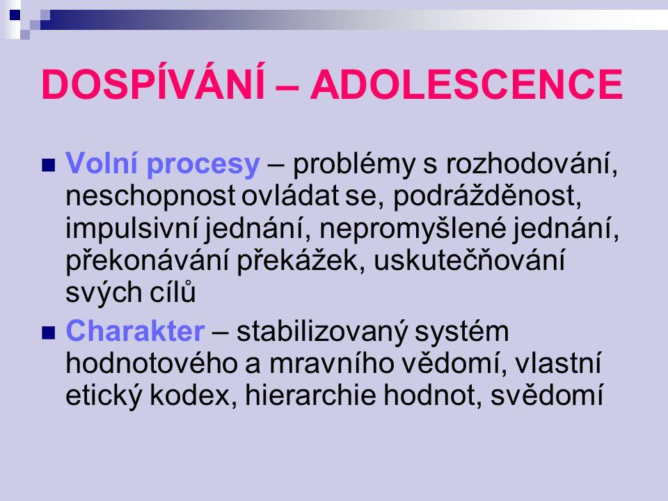 DOSPÍVÁNÍ – ADOLESCENCE Volní procesy – problémy s rozhodování, neschopnost ovládat se, podrážděnost, impulsivní jednání, nepromyšlené jednání, překon