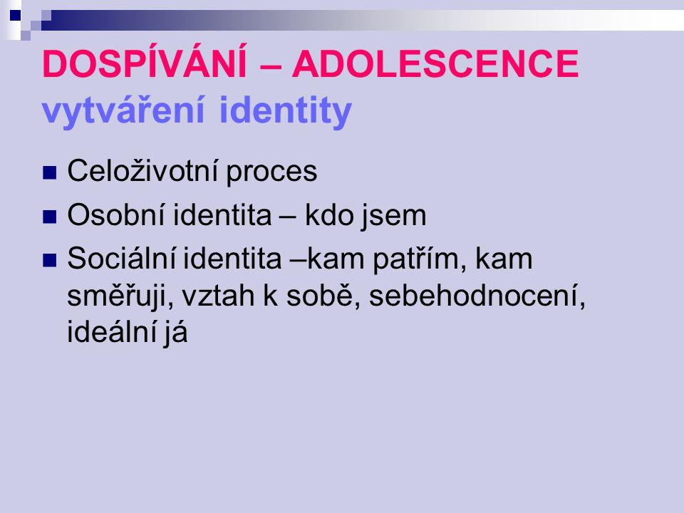 DOSPÍVÁNÍ – ADOLESCENCE vytváření identity Celoživotní proces Osobní identita – kdo jsem Sociální identita –kam patřím, kam směřuji, vztah k sobě, seb