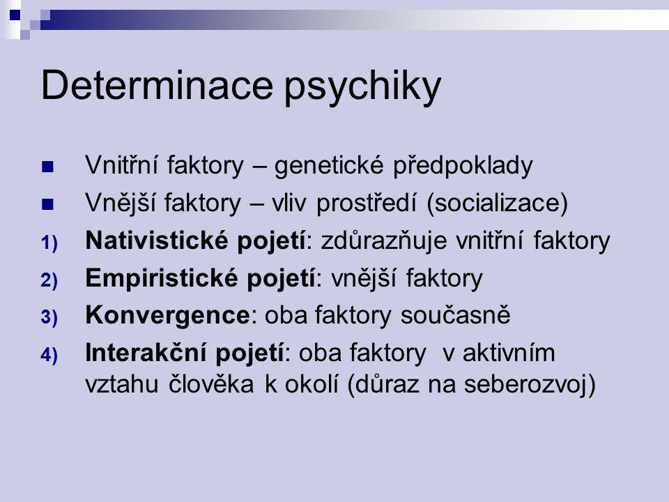 Determinace psychiky Vnitřní faktory – genetické předpoklady Vnější faktory – vliv prostředí (socializace) 1) Nativistické pojetí: zdůrazňuje vnitřní
