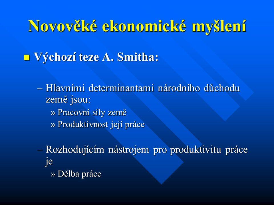 Novověké ekonomické myšlení Výchozí teze A. Smitha: Výchozí teze A.