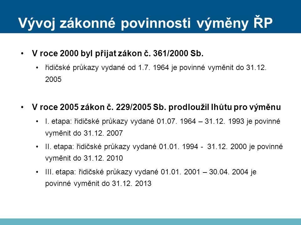 Vývoj zákonné povinnosti výměny ŘP V roce 2000 byl přijat zákon č.