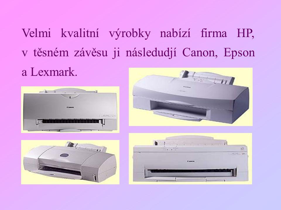 Velmi kvalitní výrobky nabízí firma HP, v těsném závěsu ji následudjí Canon, Epson a Lexmark.