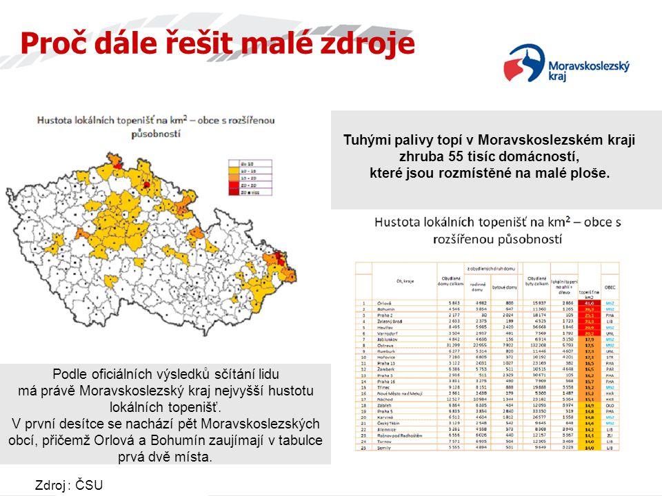 Zdroj : ČSU Tuhými palivy topí v Moravskoslezském kraji zhruba 55 tisíc domácností, které jsou rozmístěné na malé ploše. Podle oficiálních výsledků sč