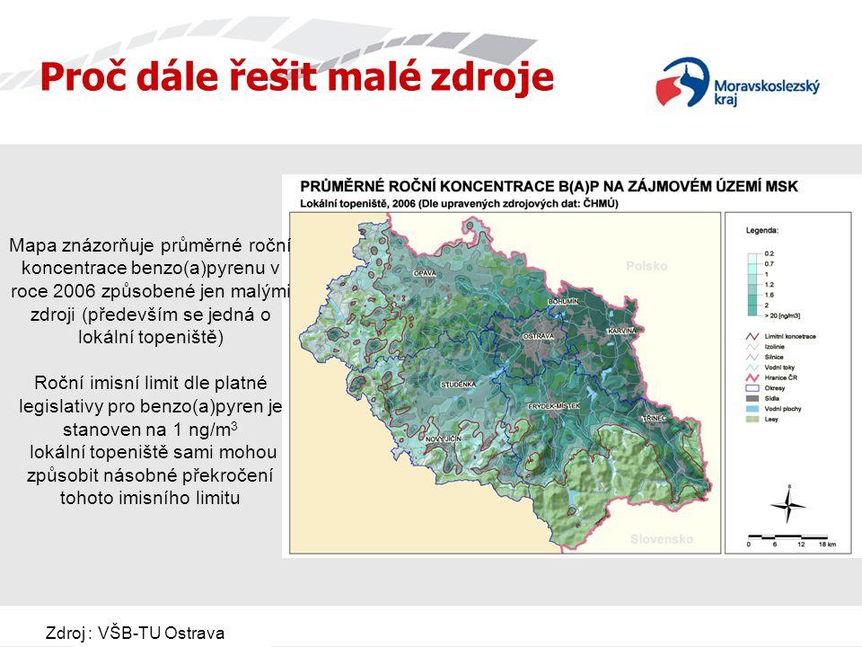 Zdroj : VŠB-TU Ostrava Mapa znázorňuje průměrné roční koncentrace benzo(a)pyrenu v roce 2006 způsobené jen malými zdroji (především se jedná o lokální