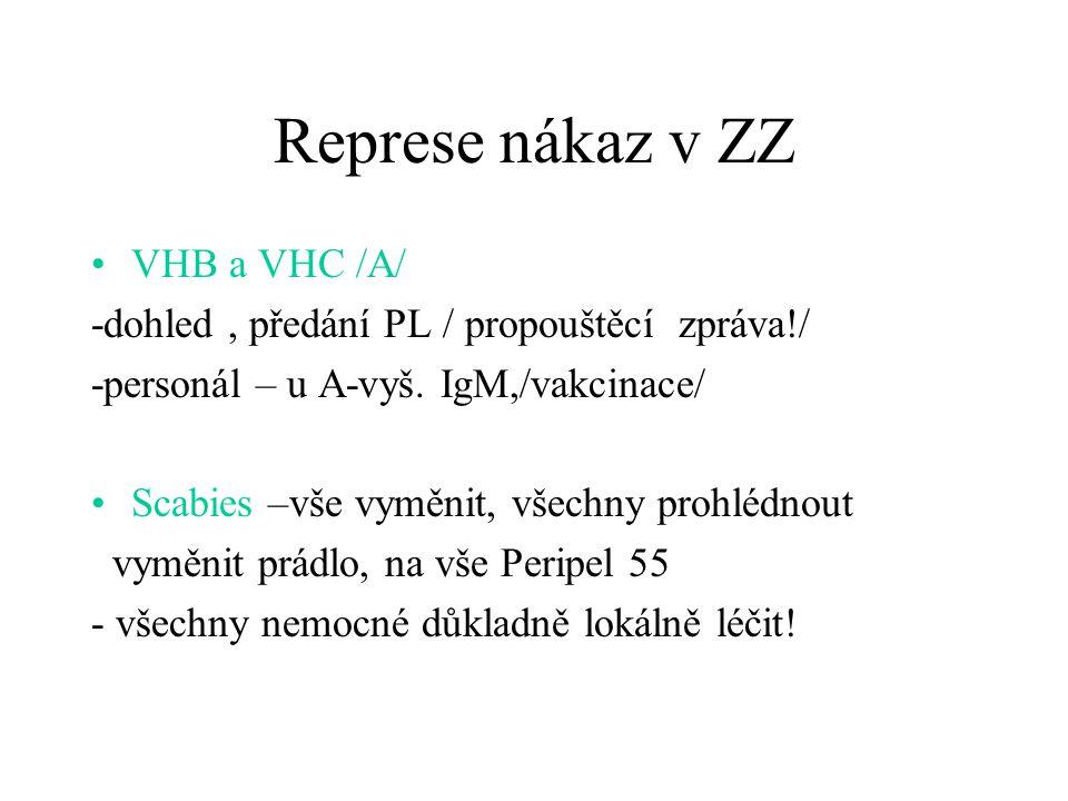 Represe nákaz v ZZ VHB a VHC /A/ -dohled, předání PL / propouštěcí zpráva!/ -personál – u A-vyš. IgM,/vakcinace/ Scabies –vše vyměnit, všechny prohléd
