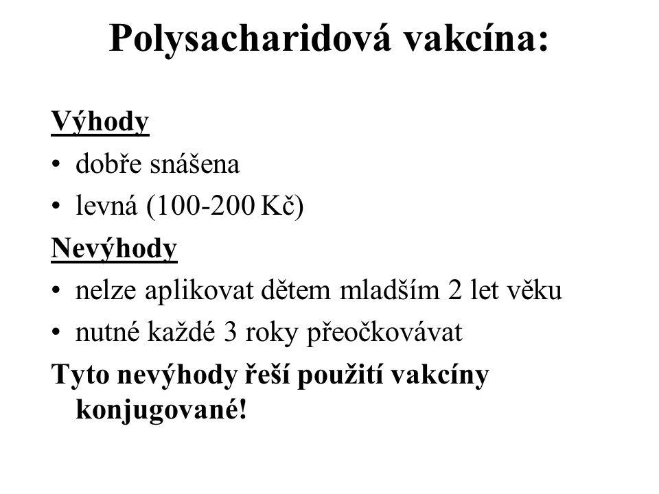 Polysacharidová vakcína: Výhody dobře snášena levná (100-200 Kč) Nevýhody nelze aplikovat dětem mladším 2 let věku nutné každé 3 roky přeočkovávat Tyto nevýhody řeší použití vakcíny konjugované!