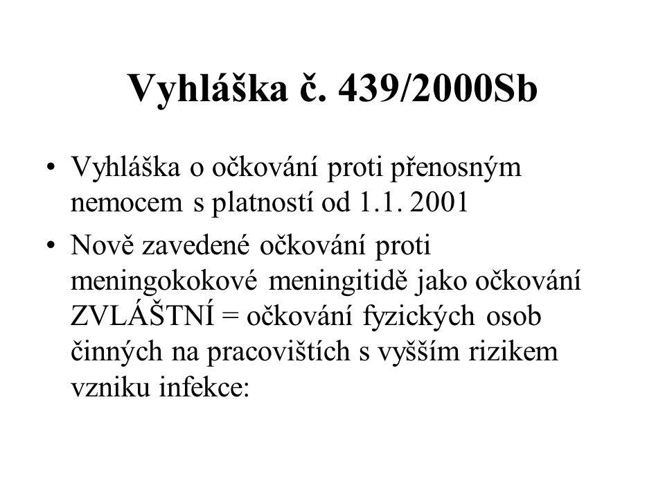 Vyhláška č.439/2000Sb Vyhláška o očkování proti přenosným nemocem s platností od 1.1.