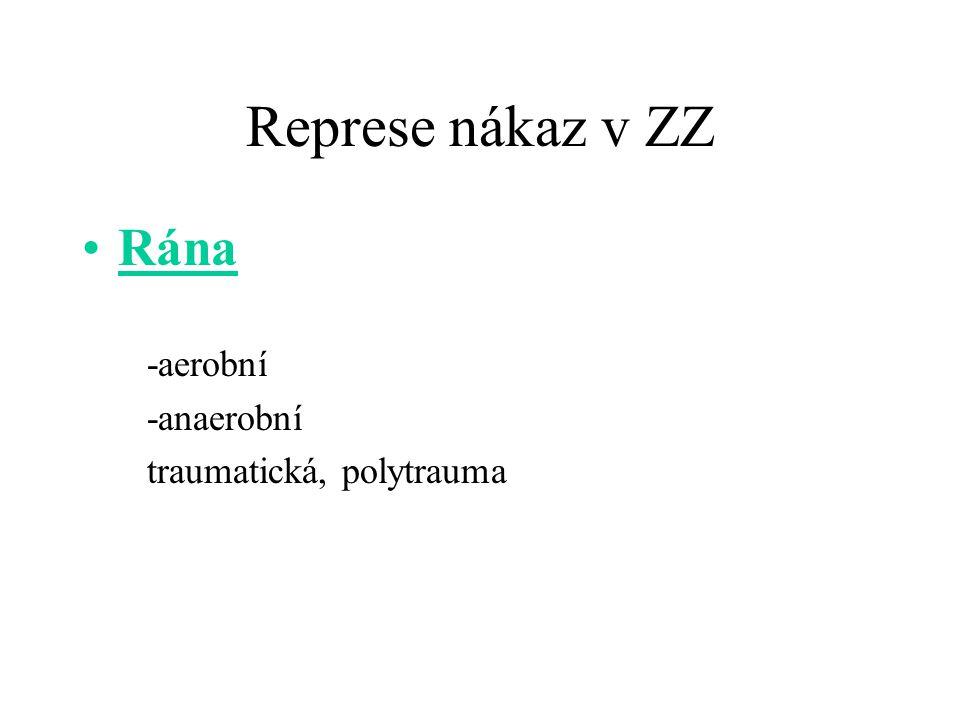 Represe nákaz v ZZ Rána -aerobní -anaerobní traumatická, polytrauma