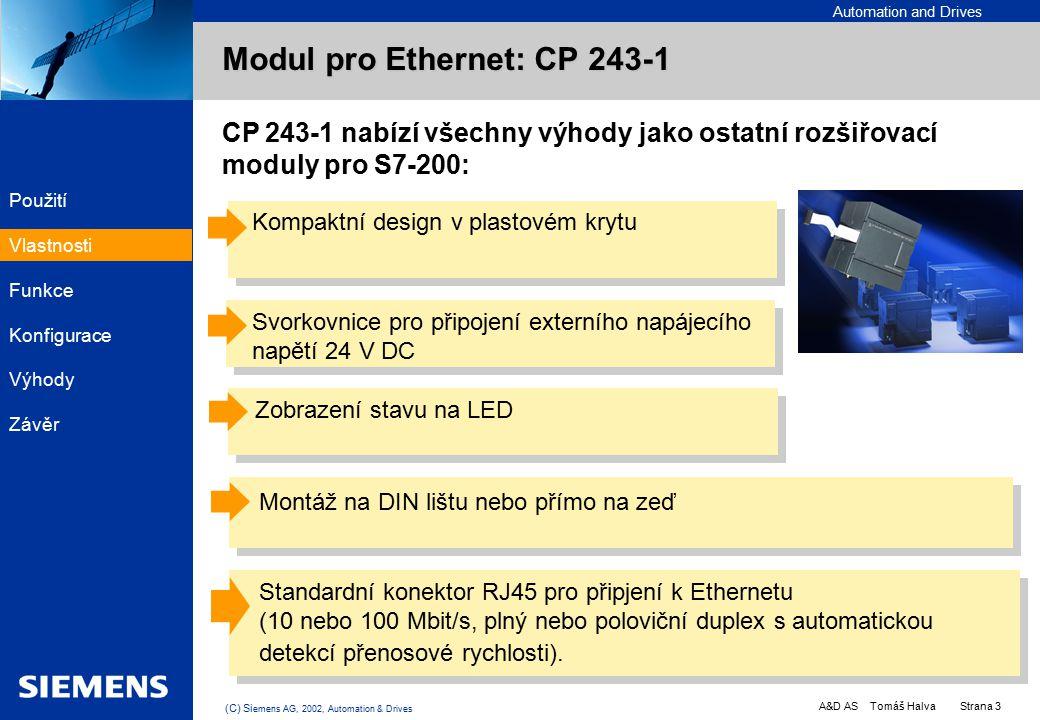 Automation and Drives A&D AS Tomáš Halva Strana 3 (C) Si emens AG, 2002, Automation & Drives EK PC PLC PC CP 243-1 nabízí všechny výhody jako ostatní