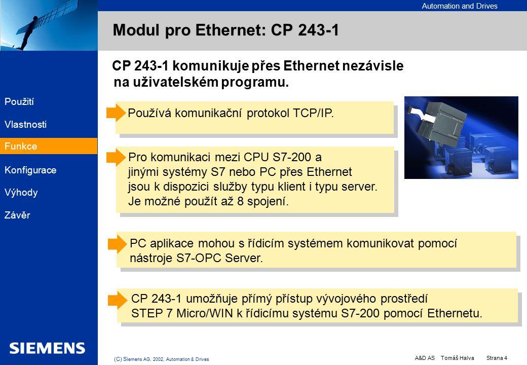 Automation and Drives A&D AS Tomáš Halva Strana 4 (C) Si emens AG, 2002, Automation & Drives EK PC PLC PC CP 243-1 komunikuje přes Ethernet nezávisle na uživatelském programu.