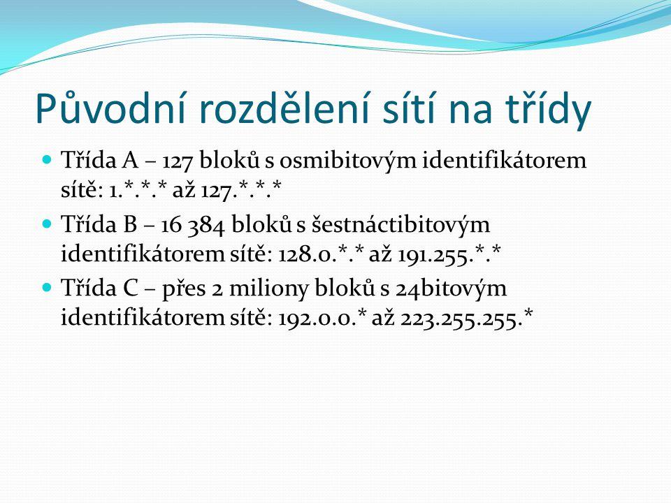 Původní rozdělení sítí na třídy Třída A – 127 bloků s osmibitovým identifikátorem sítě: 1.*.*.* až 127.*.*.* Třída B – 16 384 bloků s šestnáctibitovým identifikátorem sítě: 128.0.*.* až 191.255.*.* Třída C – přes 2 miliony bloků s 24bitovým identifikátorem sítě: 192.0.0.* až 223.255.255.*