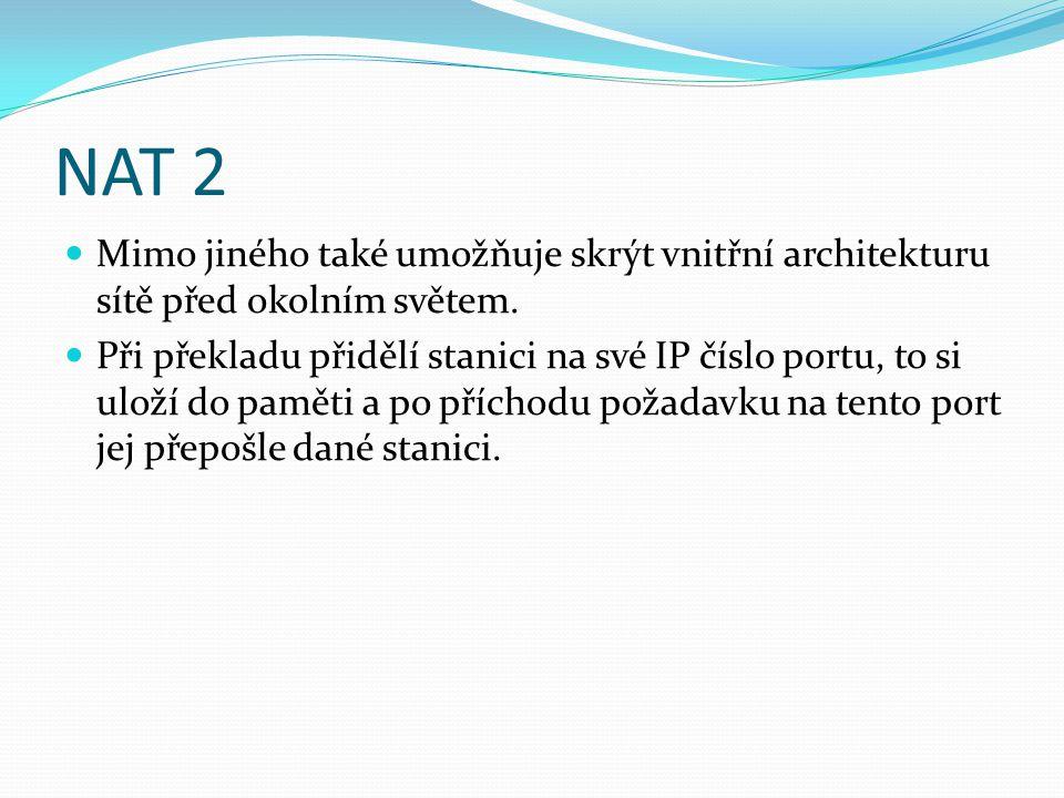 NAT 2 Mimo jiného také umožňuje skrýt vnitřní architekturu sítě před okolním světem.
