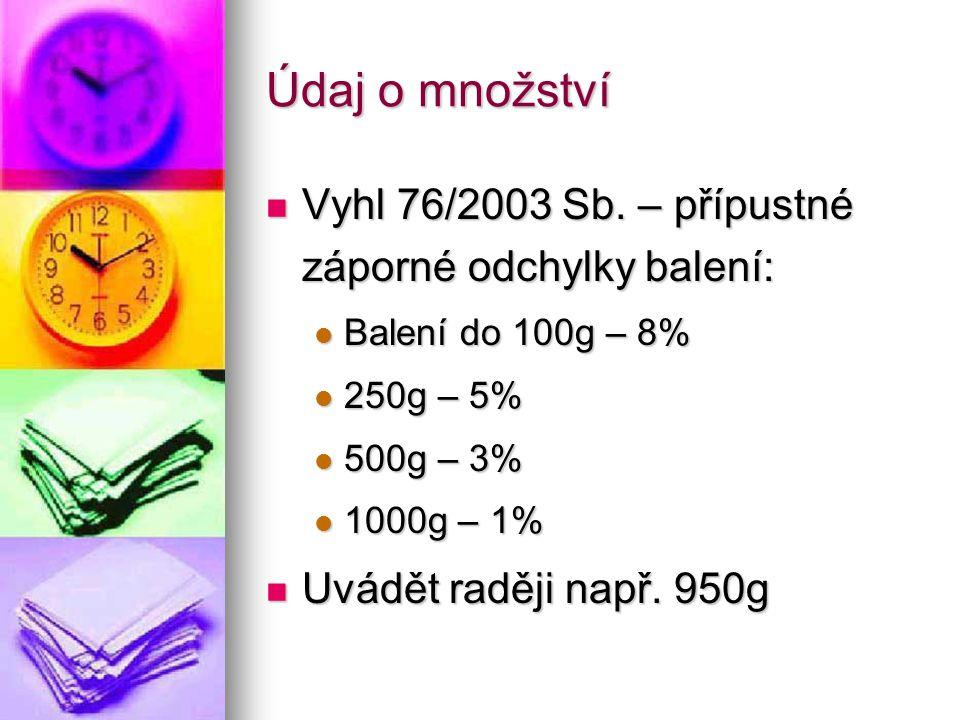 Údaj o množství Vyhl 76/2003 Sb. – přípustné záporné odchylky balení: Vyhl 76/2003 Sb. – přípustné záporné odchylky balení: Balení do 100g – 8% Balení