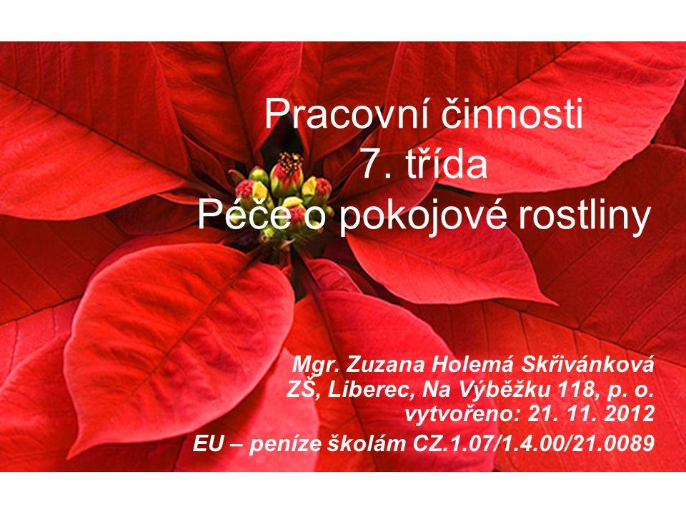 Pracovní činnosti 7. třída Péče o pokojové rostliny Mgr. Zuzana Holemá Skřivánková ZŠ, Liberec, Na Výběžku 118, p. o. vytvořeno: 21. 11. 2012 EU – pen