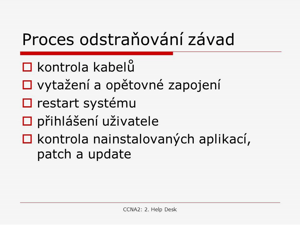 CCNA2: 2. Help Desk Proces odstraňování závad  kontrola kabelů  vytažení a opětovné zapojení  restart systému  přihlášení uživatele  kontrola nai