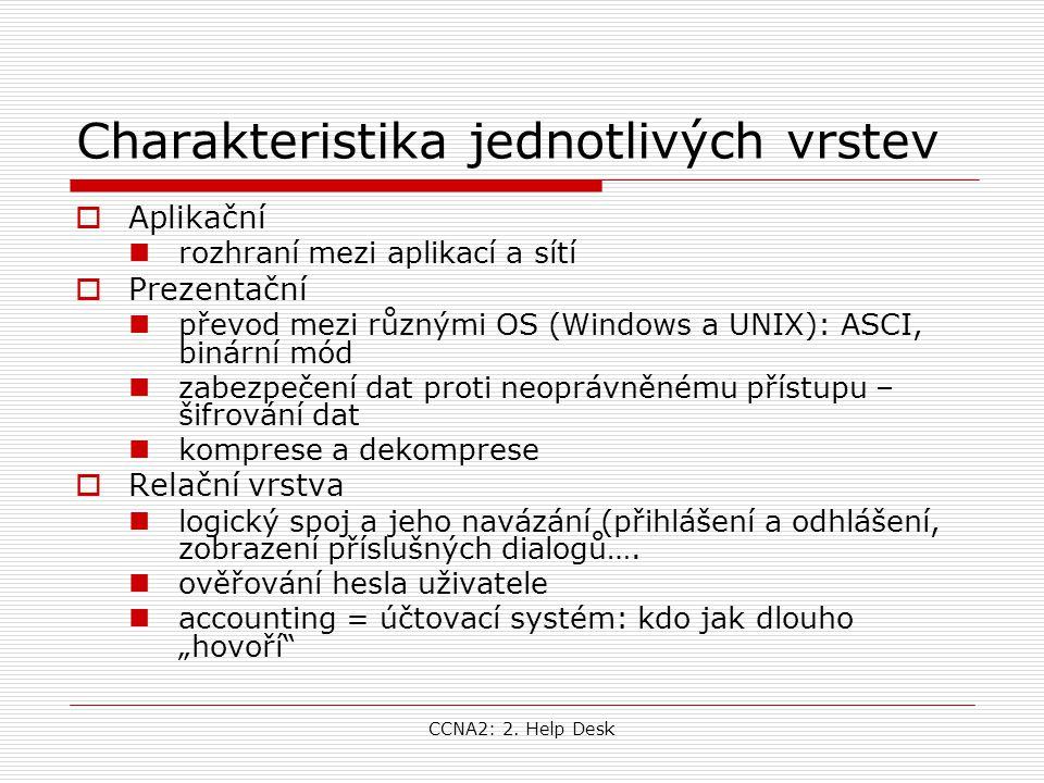 CCNA2: 2. Help Desk Charakteristika jednotlivých vrstev  Aplikační rozhraní mezi aplikací a sítí  Prezentační převod mezi různými OS (Windows a UNIX