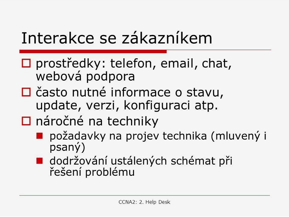 CCNA2: 2. Help Desk Interakce se zákazníkem  prostředky: telefon, email, chat, webová podpora  často nutné informace o stavu, update, verzi, konfigu