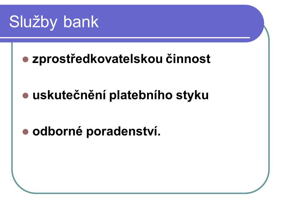 Trendy v podnikání v bankovních službách snaha o snížení poplatků nově vznikající banky poskytování doplňkových služeb elektronický kontakt