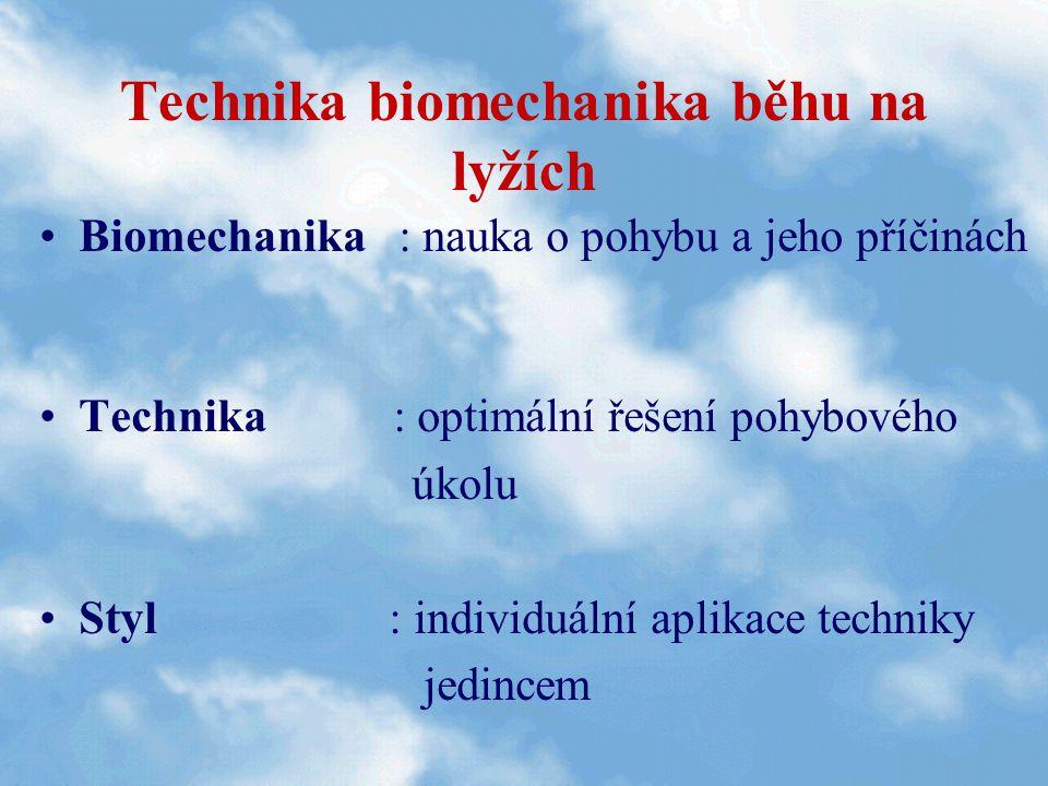 Technika biomechanika běhu na lyžích Biomechanika : nauka o pohybu a jeho příčinách Technika : optimální řešení pohybového úkolu Styl : individuální a