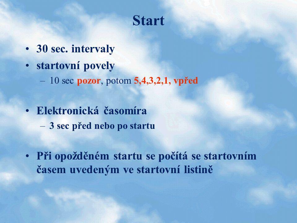 Start 30 sec. intervaly startovní povely –10 sec pozor, potom 5,4,3,2,1, vpřed Elektronická časomíra –3 sec před nebo po startu Při opožděném startu s