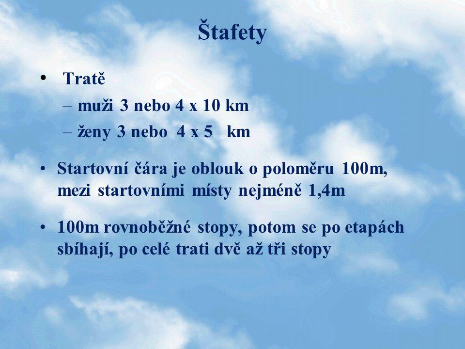Štafety Tratě –muži 3 nebo 4 x 10 km –ženy 3 nebo 4 x 5 km Startovní čára je oblouk o poloměru 100m, mezi startovními místy nejméně 1,4m 100m rovnoběž