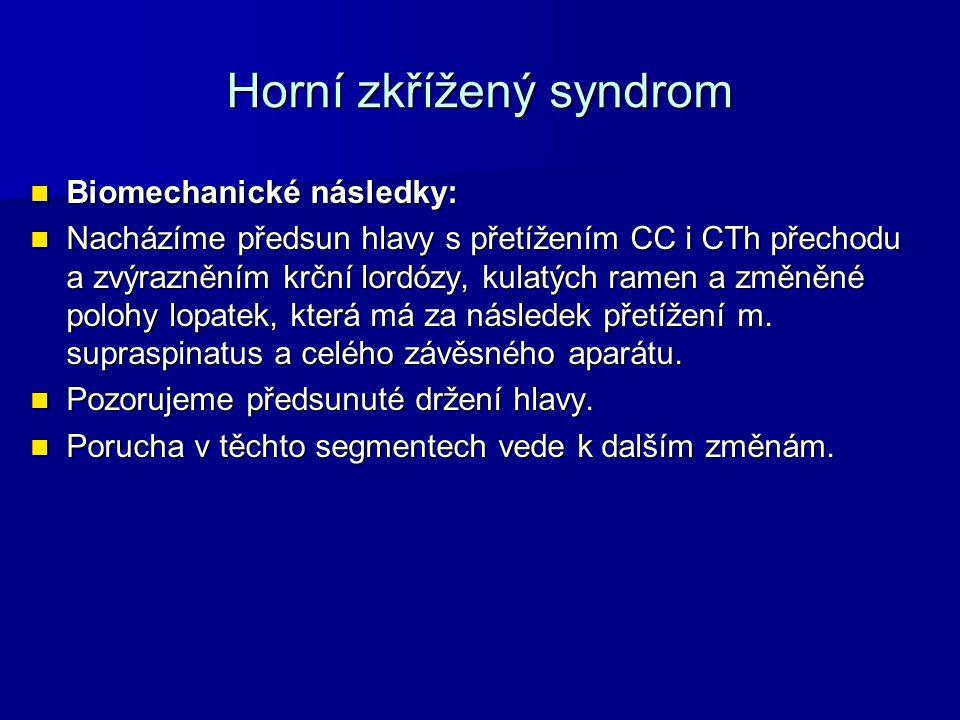 Horní zkřížený syndrom Biomechanické následky: Biomechanické následky: Nacházíme předsun hlavy s přetížením CC i CTh přechodu a zvýrazněním krční lord