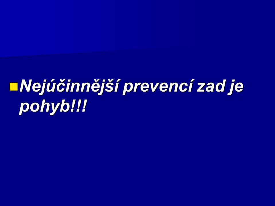 Nejúčinnější prevencí zad je pohyb!!! Nejúčinnější prevencí zad je pohyb!!!