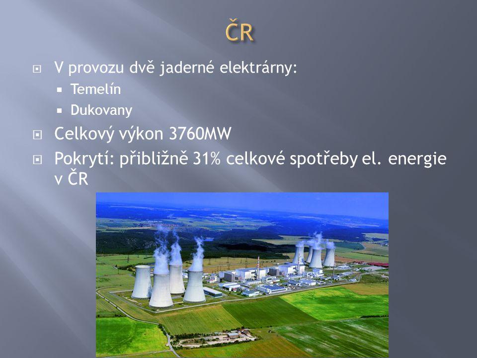  V provozu dvě jaderné elektrárny:  Temelín  Dukovany  Celkový výkon 3760MW  Pokrytí: přibližně 31% celkové spotřeby el. energie v ČR
