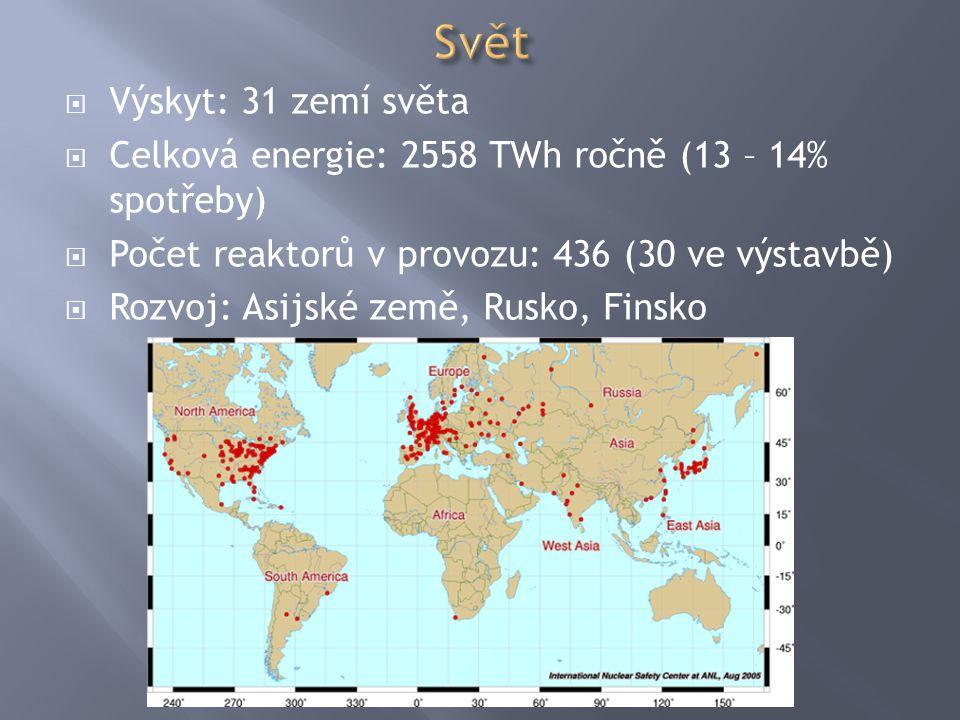  Výskyt: 31 zemí světa  Celková energie: 2558 TWh ročně (13 – 14% spotřeby)  Počet reaktorů v provozu: 436 (30 ve výstavbě)  Rozvoj: Asijské země,